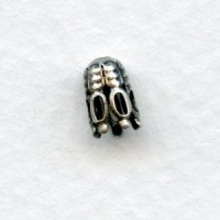*Cone Shaped Fancy Bead Caps 7mm Oxidized Silver (24)