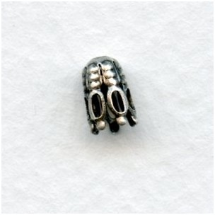 ^Cone Shaped Fancy Bead Caps 7x4mm Oxidized Silver (24)