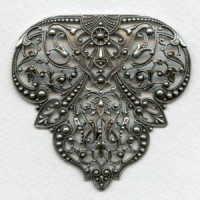 Rare Vintage Filigree 63mm Stamping Oxidized Silver (1)