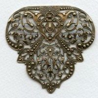 Rare Vintage Filigree 63mm Stamping Oxidized Silver ^ (1)