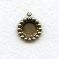Beaded Edge Filigree 7mm Settings Oxidized Brass (12)