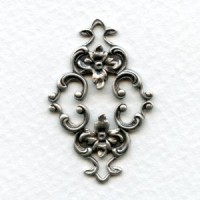 Feminine Floral Connector Oxidized Silver 36mm (2)