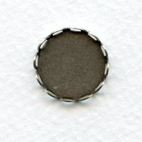 Typewriter Key Settings Lace Edge 15mm Oxidized Silver (12)
