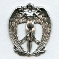 Grand Art Nouveau Goddess Oxidized Brass 62mm (1)