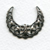 Half Moon Crescent Filigree Stamping Oxidized Silver (3)