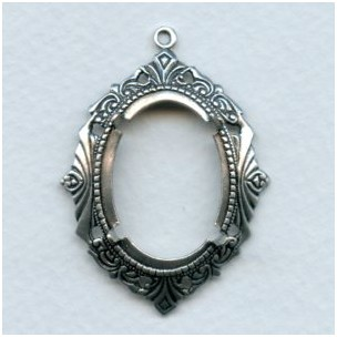Art Deco Inspired 25x18mm Setting Oxidized Silver (1)