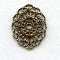 Filigree Ornate Oval 29x22mm Oxidized Brass (6)