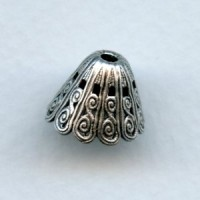 Grand Victorian Filigree Bead Cap 14x10mm Oxidized Silver (1)