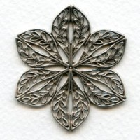 Floral Shape Flat 45mm Filigree Oxidized Silver (1)