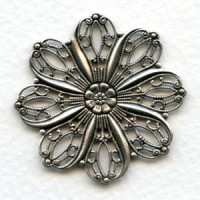 Floral Shape Flat 45mm Filigree Oxidized Silver (1)