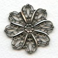 Petal Shape Flat 35mm Filigrees Oxidized Silver (2)