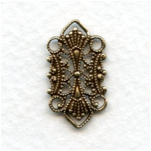 Delicate Four Loop Filigree Connectors Oxidized Brass (12)