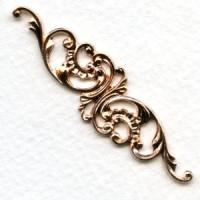 Elegant Filigree Scrollwork 63mm Oxidized Brass
