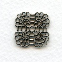 Rounded Square Filigree Connectors Oxidized Silver