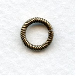 Sturdy Twisted Wire 9mm Jump Rings Antique Gold (24)