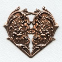 Heart and Flowers Oxidized Copper Stamping 65mm (1)