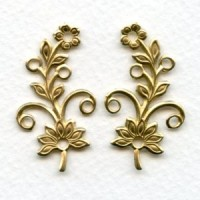 Flowers with Rivet Holes Raw Brass (3 pairs)