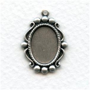 Ornate Pendant Settings 14x10mm Oxidized Silver (12)
