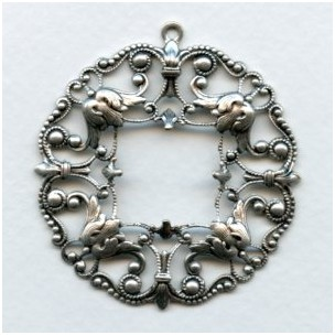 Ornately Detailed Filigree Pendant Frame Oxidized Silver (1)