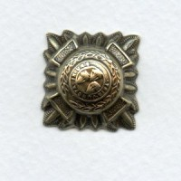 Medallion Crest Oxidized Brass Stamping 21mm (4)