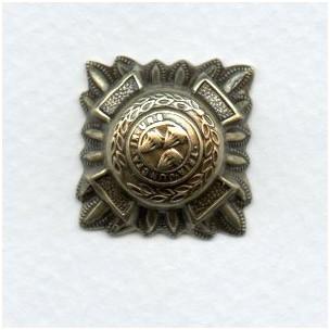 Medallion Crest Oxidized Brass Stamping 21mm (4)