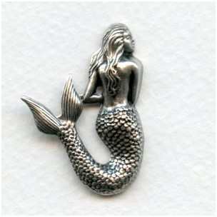 Small Mermaid Stampings Oxidized Silver 35mm (3)