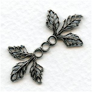 Filigree Leaves Connectors Oxidized Silver 36mm (6)