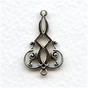 Elaborate Filigree Connectors Oxidized Silver (6)