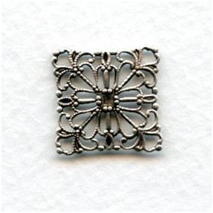 Square Flat Filigree Connector Oxidized Silver (12)