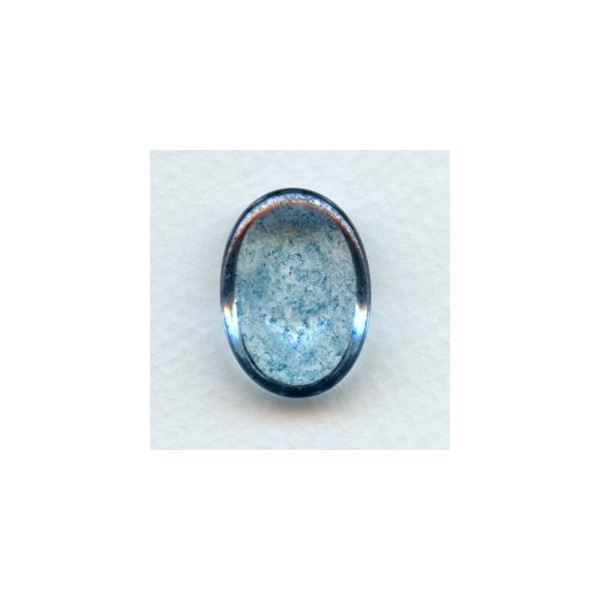 Blue Luster Effect Glass Cab 25x18mm 1