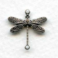 *Victorian Style Dragonfly Connectors Oxidized Silver (12)