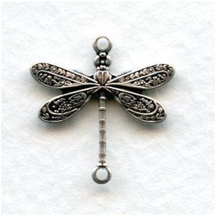 Victorian Style Dragonfly Connectors Oxidized Silver (12)