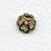 Unique 8mm Filigree Bead Caps Oxidized Brass (12)