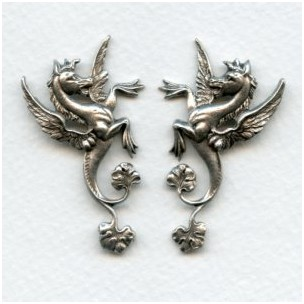 Hippocampus Mythical Seahorses Oxidized Silver (1 pair)