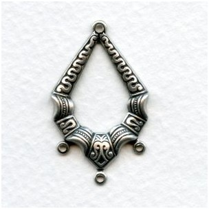 Ornate Connector Hoop Oxidized Silver 33mm (6)