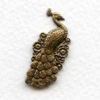 Peacock with Flowers Oxidized Brass 30mm (2)