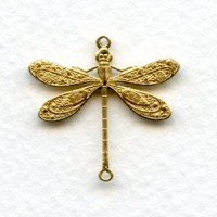 Victorian Style Dragonfly Connectors Raw Brass 24mm (6)