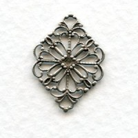 Filigree 21mm Connectors Oxidized Silver (12)