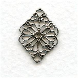 *Filigree 21mm Connectors Oxidized Silver (12)