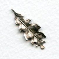 Small Oak Leaves With Hole Oxidized Silver 27mm (6)