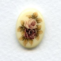 Victorian Style Floral Painting on Glass 18x13mm