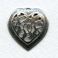 Detailed Heart Pendants Openwork Oxidized Silver 28mm (3)