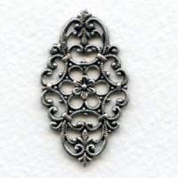 Oval Filigree Design Oxidized Silver 38x21mm (3)