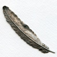 Medium Feather Stampings Oxidized Silver 88mm (2)