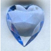 Lt Sapphire Glass Heart-Shape Stones Unfoiled 12x11mm