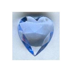 ^Lt Sapphire Glass Heart-Shape Stones Unfoiled 12x11mm