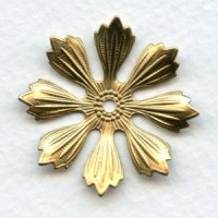 Large Raw Brass Flower Stampings 33mm (3)