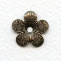 Beaded Detail Flower Shapes Oxidized Brass 18mm (12)