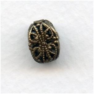 Ornate Filigree 11x8mm Beads Oxidized Brass (4)