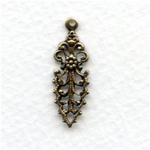 Fancy Filigree Pendant Drop 25mm Oxidized Brass (12)